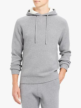 Theory Crimden Wool Cashmere Hoodie, Light Grey