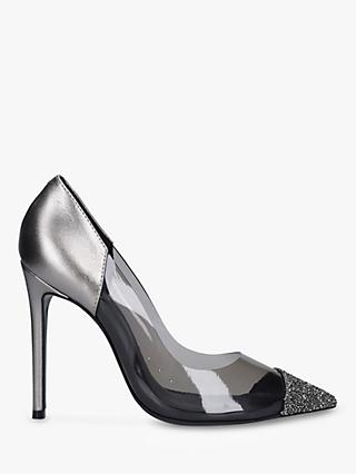 Carvela Geometric Perspex Embellished Court Heels, Grey