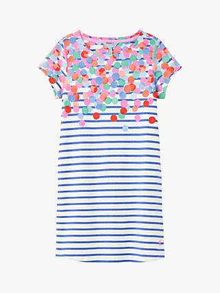 Little Joule Girls' Riviera Short Sleeve Stripe Dress, Blue
