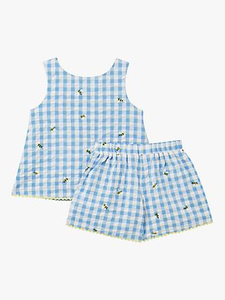Little Joule Girls' Carmel Bee Check Print Vest Top and Shorts Set, Blue/White