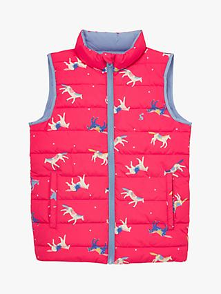 Little Joule Girls' Croft Reversible Pony Gilet, Pink/Blue