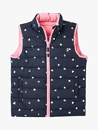 Little Joule Girls' Flip Reversible Gilet, Navy