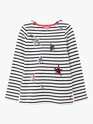 Little Joule Girls' Harbour Star Top, White/Navy
