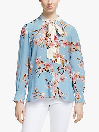 Marella Catone Floral Silk Blouse, Light Blue/Multi