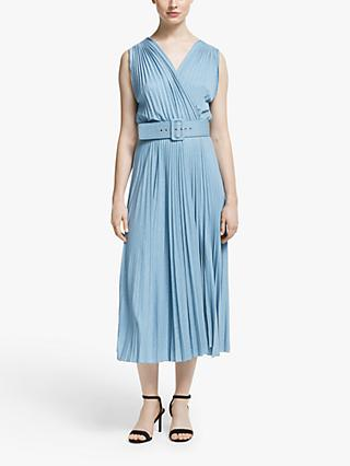 Marella Geode Pleated Dress, Light Blue