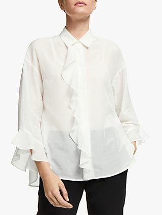 Marella Khat Long Sleeve Ruffle Blouse, White