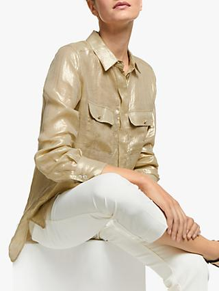 Marella Illipe Long Sleeve Metallic Luxe Shirt, Gold