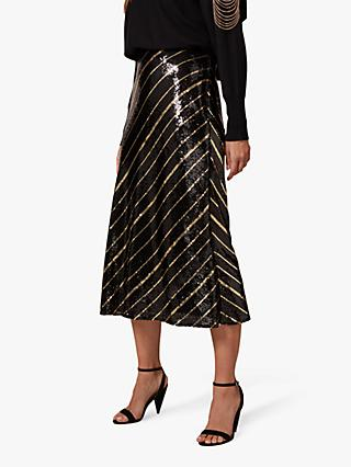 Phase Eight Giana Sequin Stripe Midi Skirt, Black/Bronze