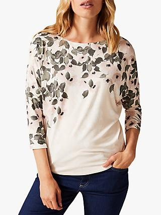 Phase Eight Miki Floral Boat Neck Top, Ivory