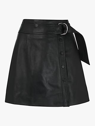 Whistles Tie Detail Leather Skirt, Black