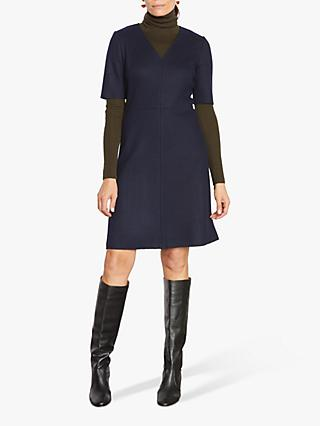 Jigsaw Wool Shift Dress, Navy