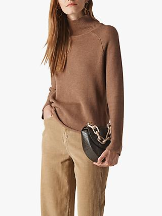 Whistles Phillipa Roll Neck Jumper, Camel