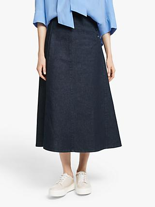 Kin Button Waist A-Line Denim Skirt, Blue