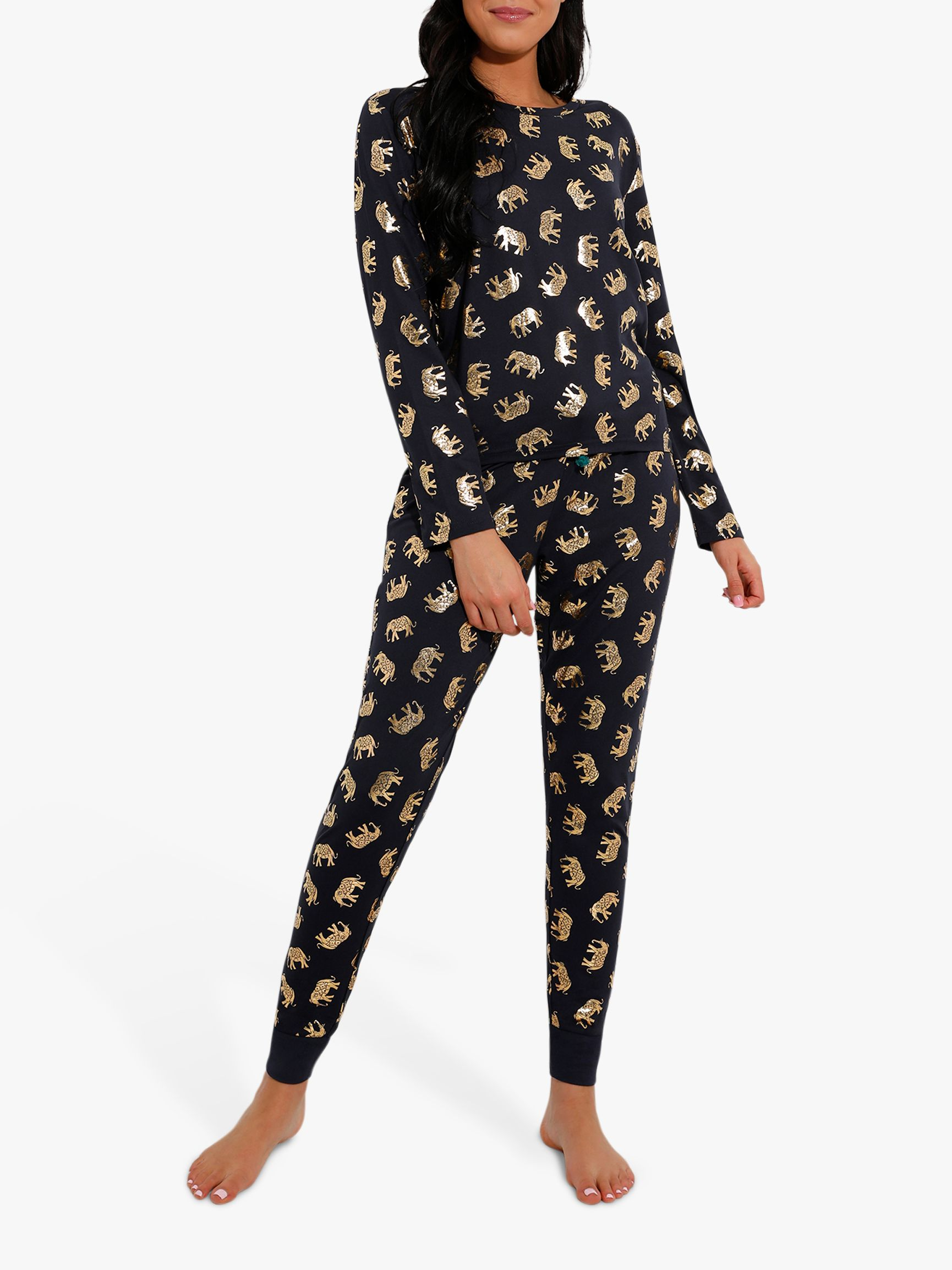 Chelsea Peers Chelsea Peers Elephant Print Pyjama Set, Navy