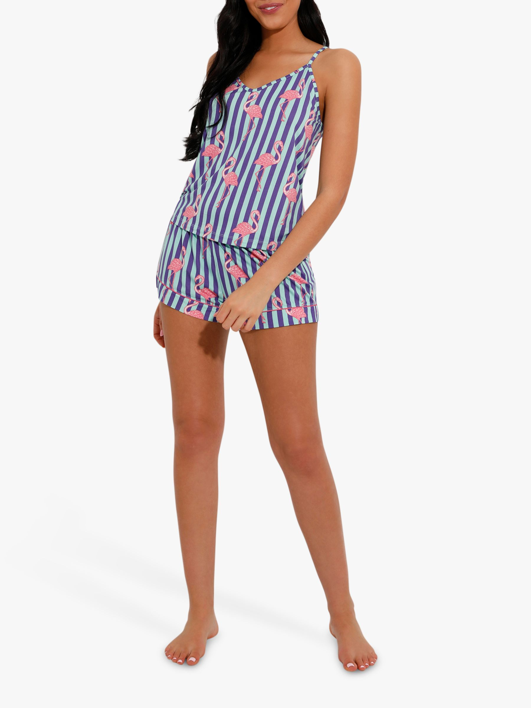 Chelsea Peers Chelsea Peers Flamingo Print Cami And Shorts Pyjama Set, Pink/Multi