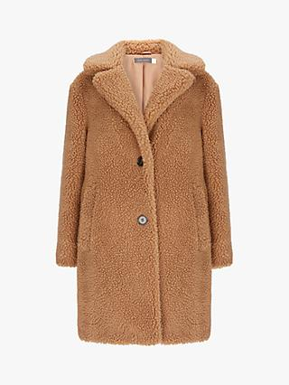 Mint Velvet Teddy Faux Fur Coat, Camel