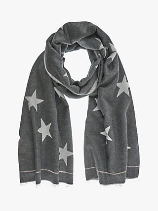 Mint Velvet Star Print Metallic Trim Scarf