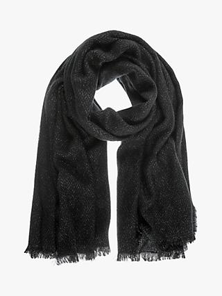 Mint Velvet Metallic Fleck Scarf, Black