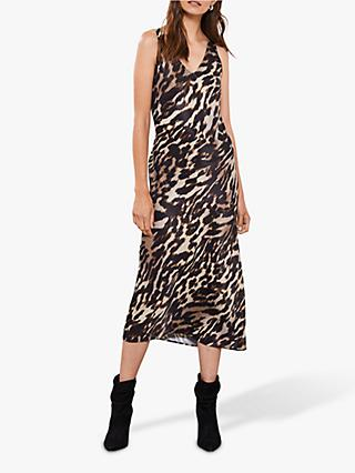 Mint Velvet Josie Leopard Print V-Neck Midi Dress, Multi