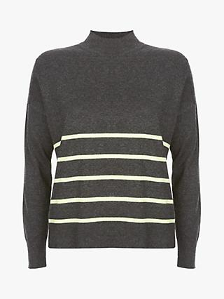Mint Velvet Neon Stripe Jumper, Dark Grey