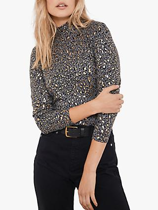 Mint Velvet Foil Animal Print Polo Neck Top, Dark Grey