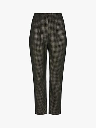 Mint Velvet Skinny Metallic Houndstooth Trousers, Multi