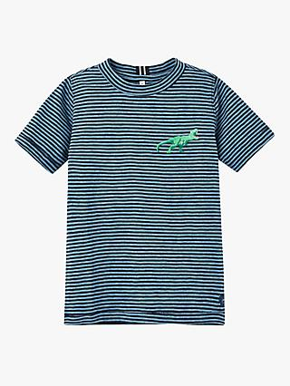 Little Joule Boys' Island Dinosaur Stripe T-Shirt, Blue