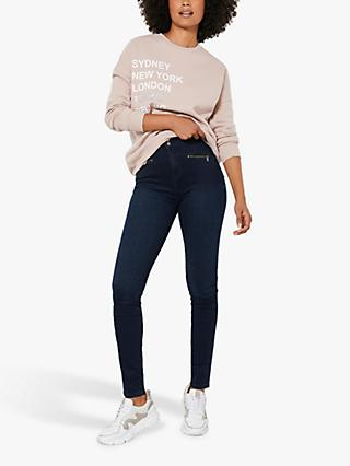 Mint Velvet Ohio Zip Jeggings, Dark Blue
