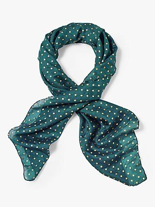 White Stuff Spot Pleated Neckerchief Scarf, Celestial Teal Print