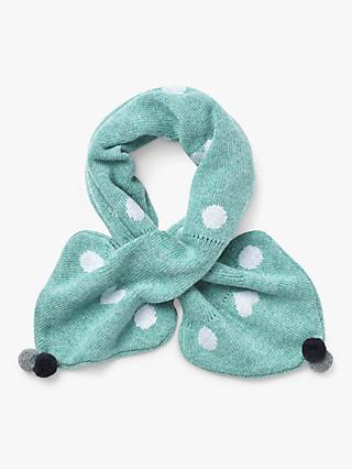 White Stuff Spot Merino Wool Blend Tippet Scarf, Duck Egg