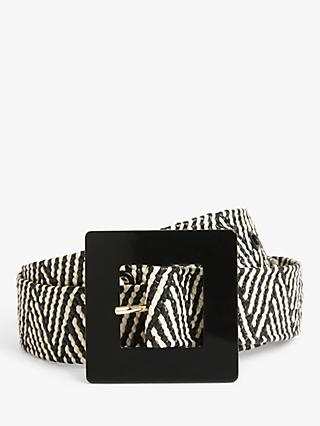 John Lewis & Partners Harper Woven Statement Belt, Black/White