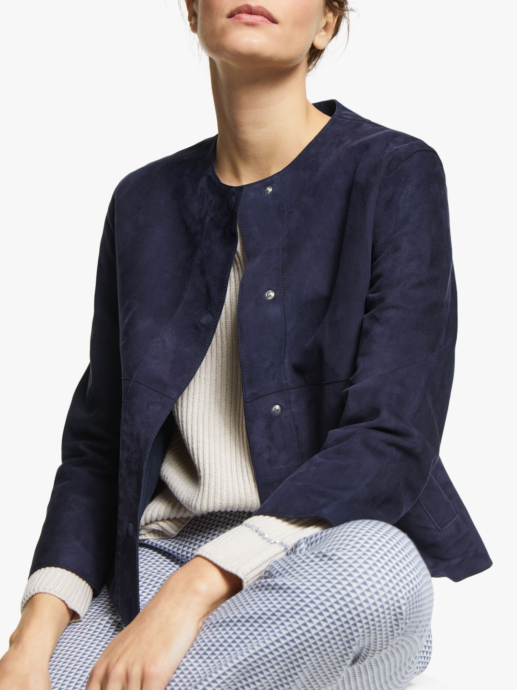 WEEKEND MaxMara Weekend MaxMara Educata Short Suede Jacket, Navy