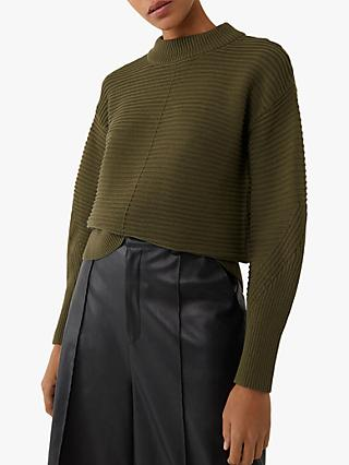 Warehouse Ottoman Rib Funnel Neck Jumper