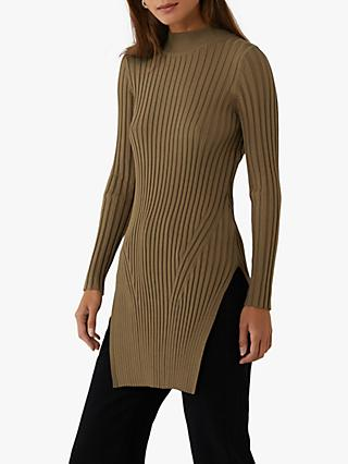 Warehouse Tunic Wide Ribbed Jumper Dress, Khaki