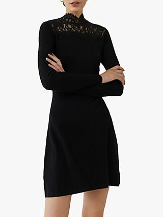 Warehouse Lace High Neck Jumper, Black