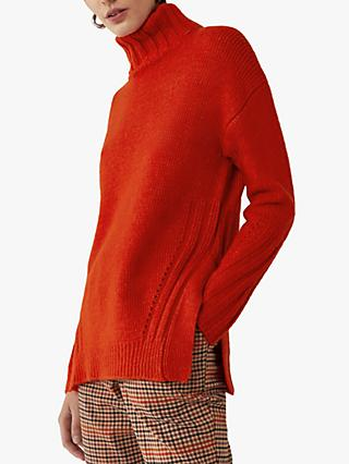 Warehouse Cosy Split Side Turtle Neck Long Jumper