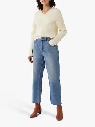 Warehouse Ribbed V Neck Cropped Jumper