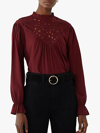 Warehouse Cutwork Ruffle Neck Top, Berry