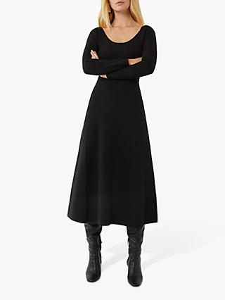 Warehouse Scoop Neck Flared Midi Dress, Black
