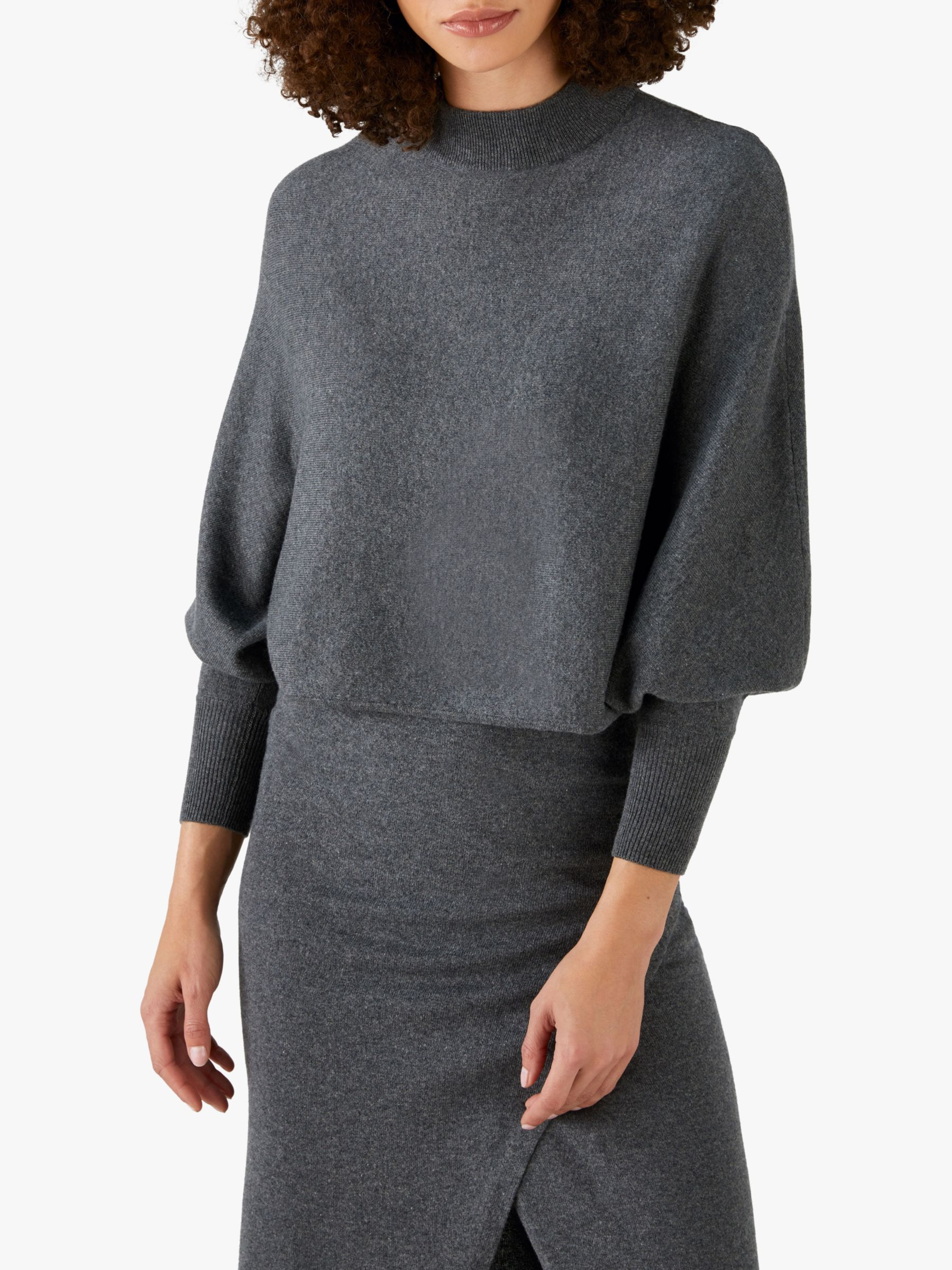 Pure Collection Pure Collection Batwing Crop Jumper, Charcoal
