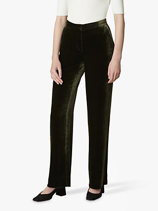 Jaeger Straight Leg Velvet Trousers, Green