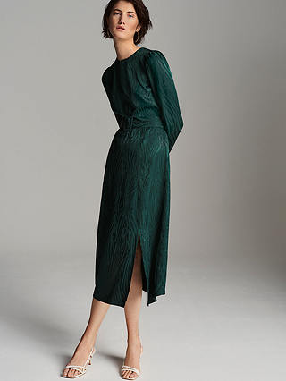 Buy Warehouse Zebra Print Midi Dress, Green, 6 Online at johnlewis.com