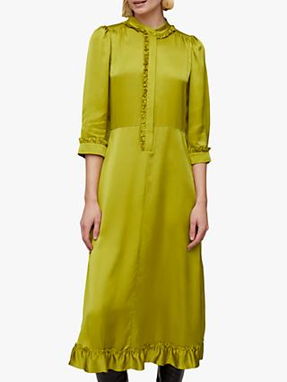 Jigsaw Ruffle Shirt Dress, Green Moss