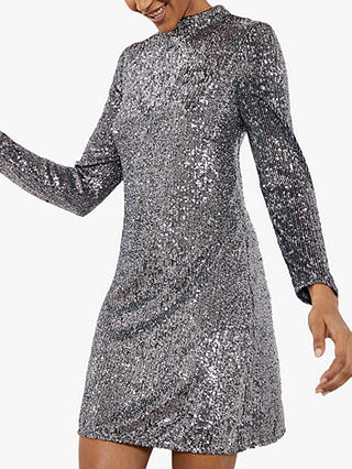 Buy Mint Velvet Sequin Mini Dress, Gunmetal, 6 Online at johnlewis.com