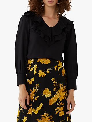 Warehouse Pintuck Ruffle Sleeve V-Neck Top, Black
