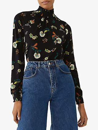 Warehouse Floral Shirred High Neck Top, Black