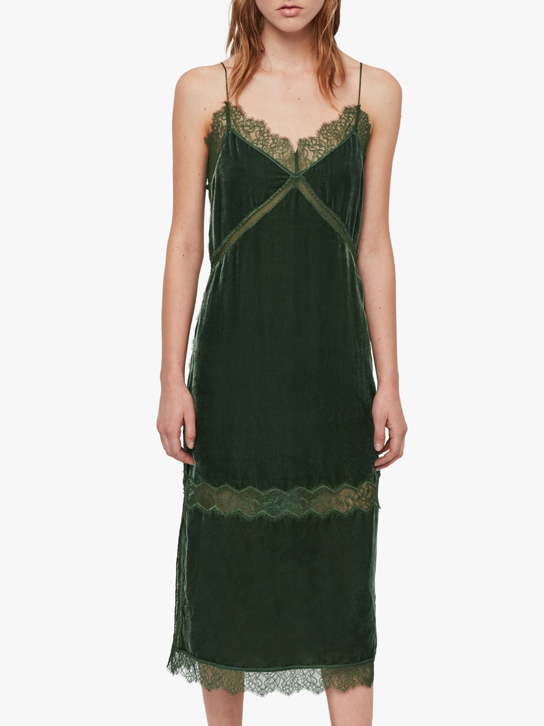 AllSaints Noa Velvet Slip Dress, Green at John Lewis & Partners