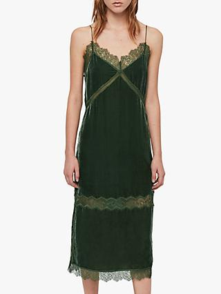 AllSaints Noa Velvet Slip Dress, Green