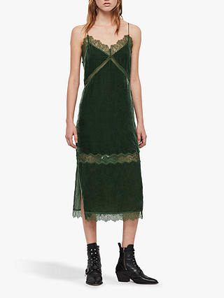 Buy AllSaints Noa Velvet Slip Dress, Green, 6 Online at johnlewis.com