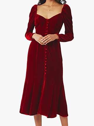 Ghost Sydney Silk Velvet Dress, Dark Red